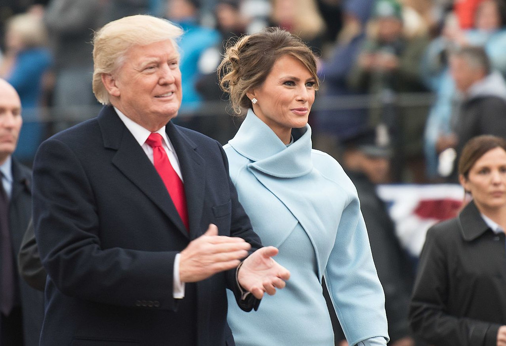 Trump at his inaugural with his third wife Melania in 2017