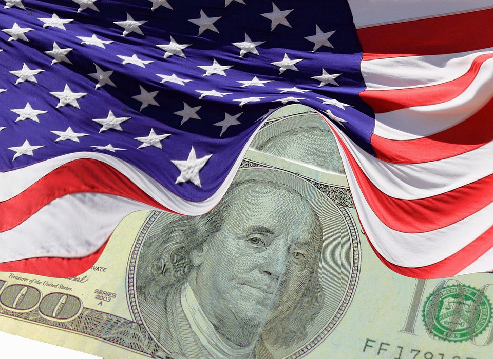 U.S. flag with U.S. currency courtesy of Pixaby