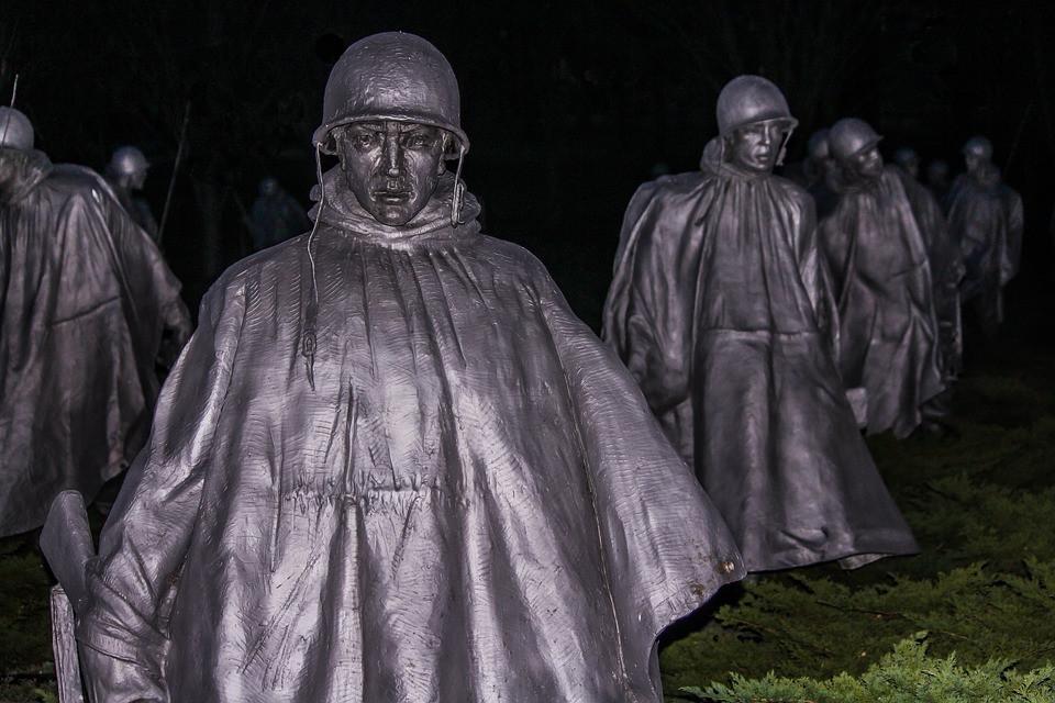 Korean War Memorial at night, Washington, DC