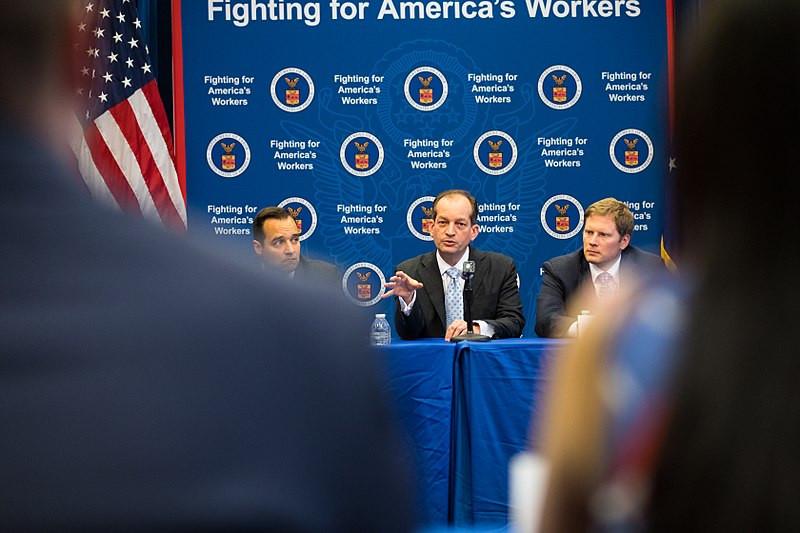 U.S. Secretary of Labor Acosta meeting with apprentices in 2017