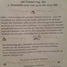 Her ayın ilk perşembe günü barınakta tanışma toplantıları yapılıyor. Hem fikir alışverişinde bulunuluyor, hem de tanıtım yapılıyor. — Tierschutzverein München