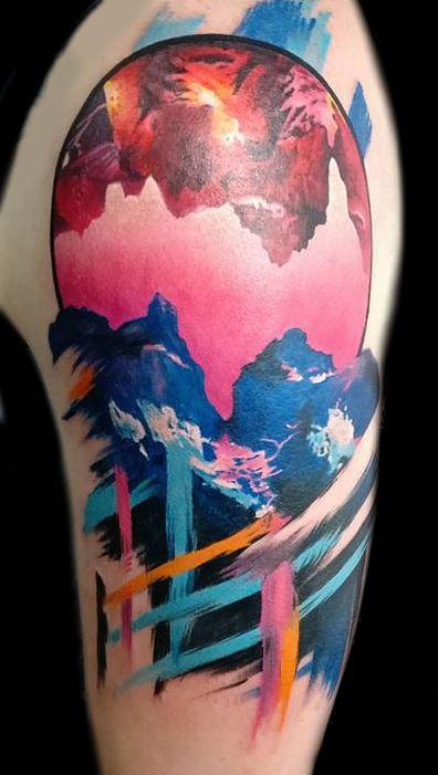 Surreal Mountainscape Tattoo