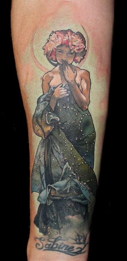Tattoo Replication of Maiden in the Moonlight by Alphonse Mucha
