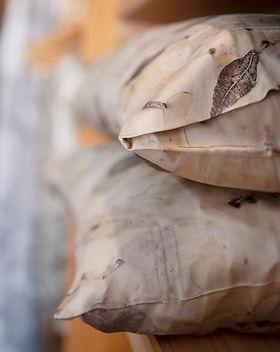 Eco-printed silk pillow-cases at Perpetua Studio