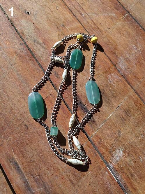 Handmade Paper Bead Necklace - 90cm