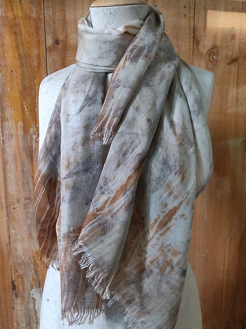 Climate Change Silk & Wool Scarf - Large Rectangle - Cherry and Lavender