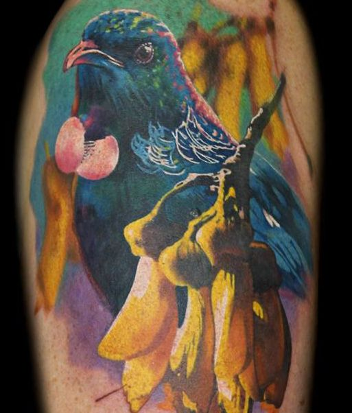 Tui and Kowhai Tattoo