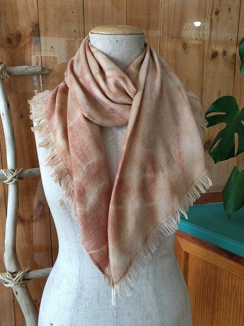 Climate Change Silk & Wool Scarf -Extra Winter Warmth - Shibori Spiral