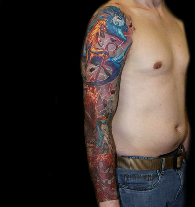 colour tattoo sleeve by Mario Gregor