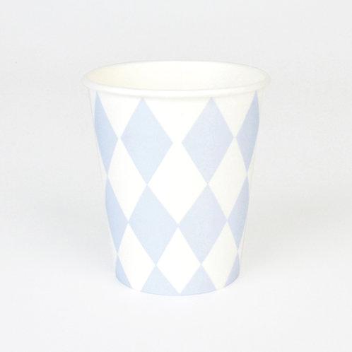 """Gobelets """"my little day"""" losanges blancs et bleus"""