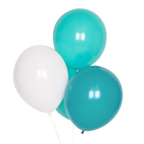 """Set de 10 ballons blancs bleus et aqua  """"my little day"""""""
