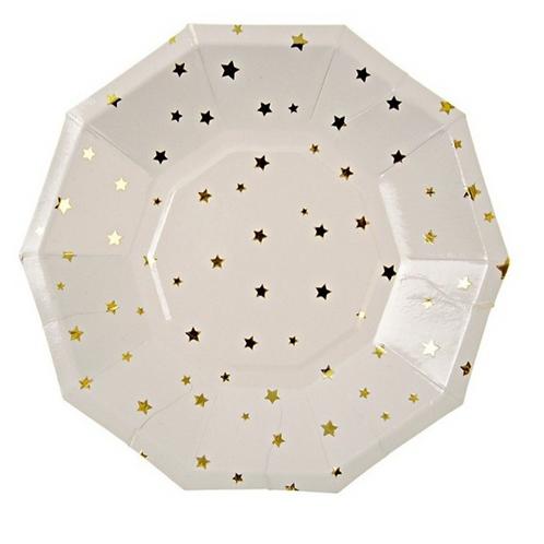 Petites assiettes blanches à étoiles dorées meri meri