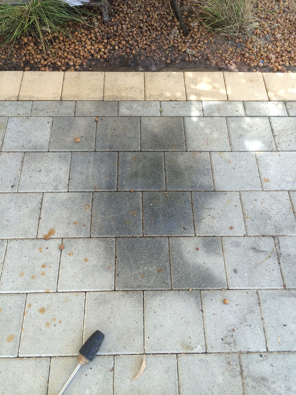 Oil stains on pavers