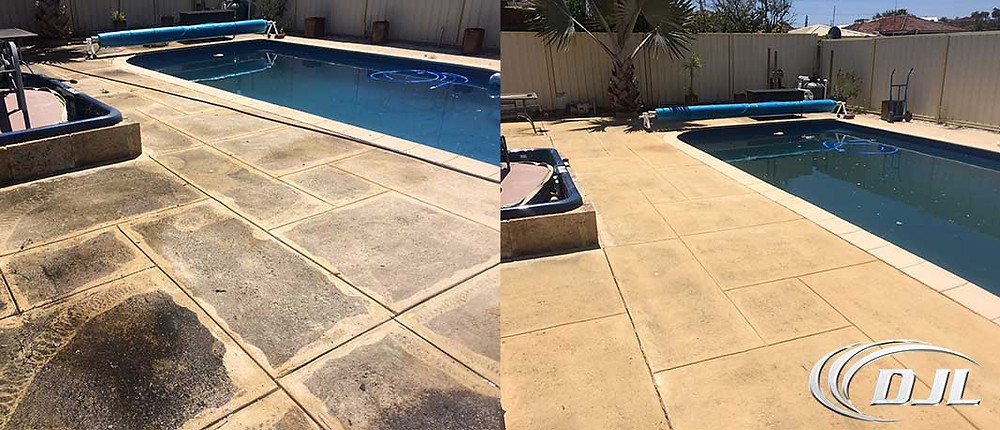 High pressure cleaning pool pavers