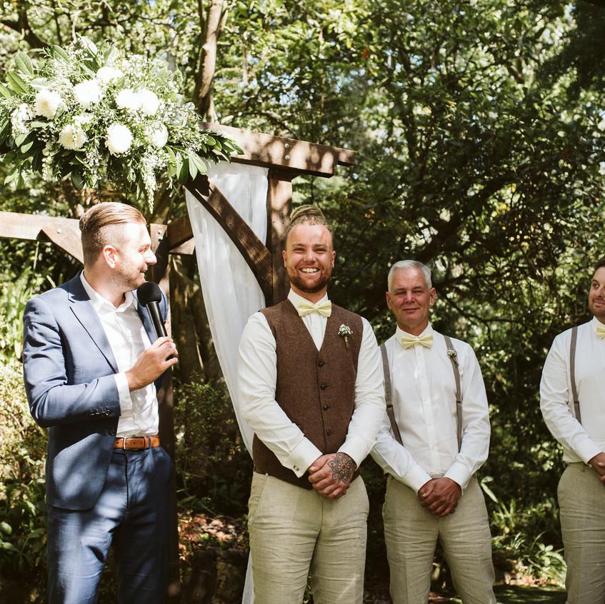 male wedding celebrants fun younger