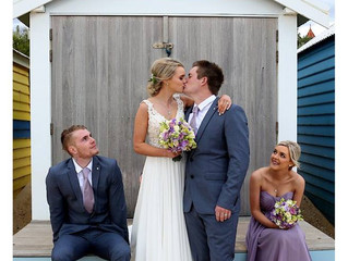 A beach wedding with some tears!
