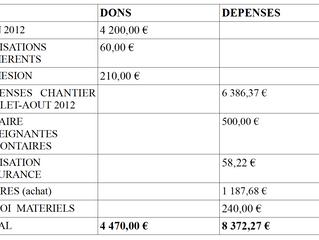 Bilan financier année 2012