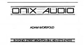ONIX AUDIO Adam Worsfold Biz card from 1984