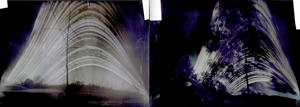 Two solargraph cans from same site, overlooking sundial and gnomon; Dec 2019 on the right..