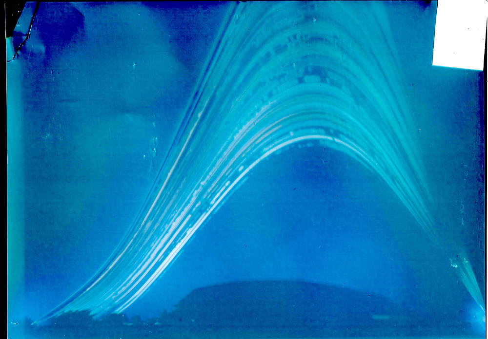 Solargraph above garden with two month exposure.