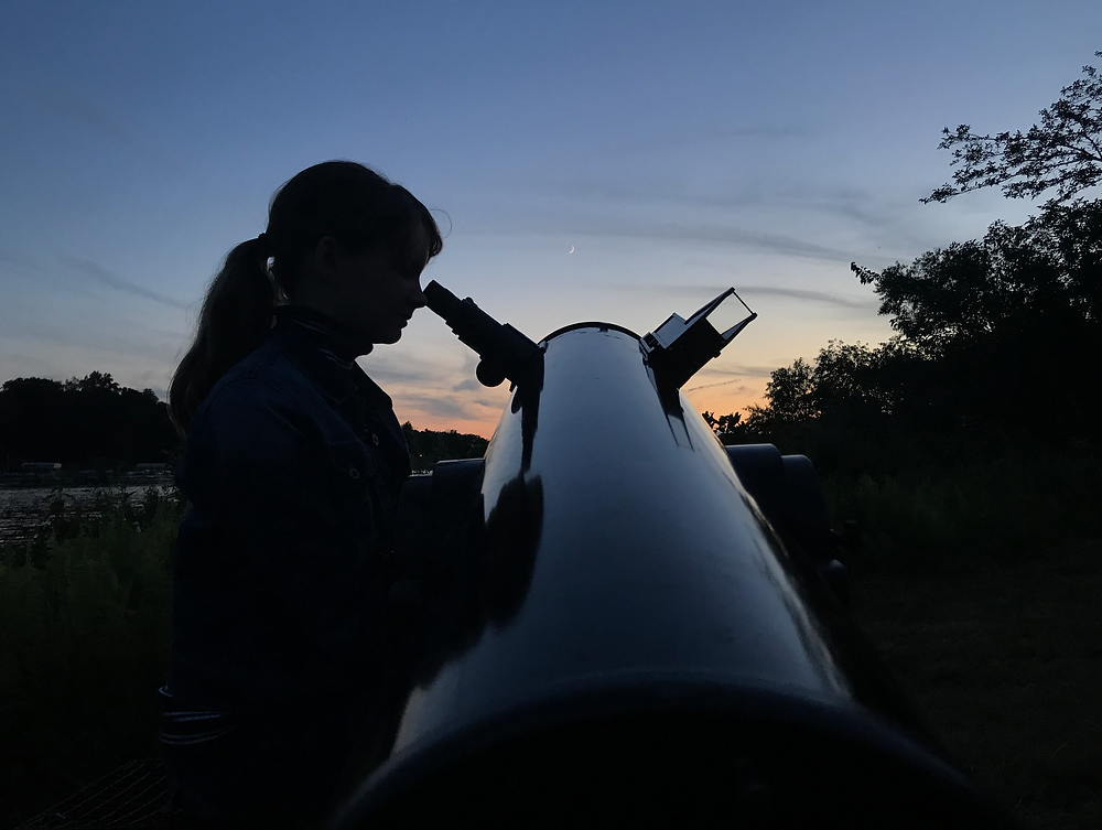 Telescope aimed at planet during AstroCamp