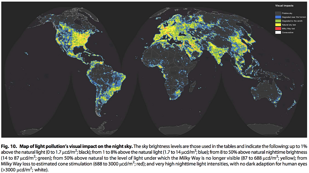 Map of light pollution's visual impact on the night sky.  From The New World Atlas of Artificial Night Sky Brightness, AAAS