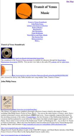 Music & The Transit of Venus