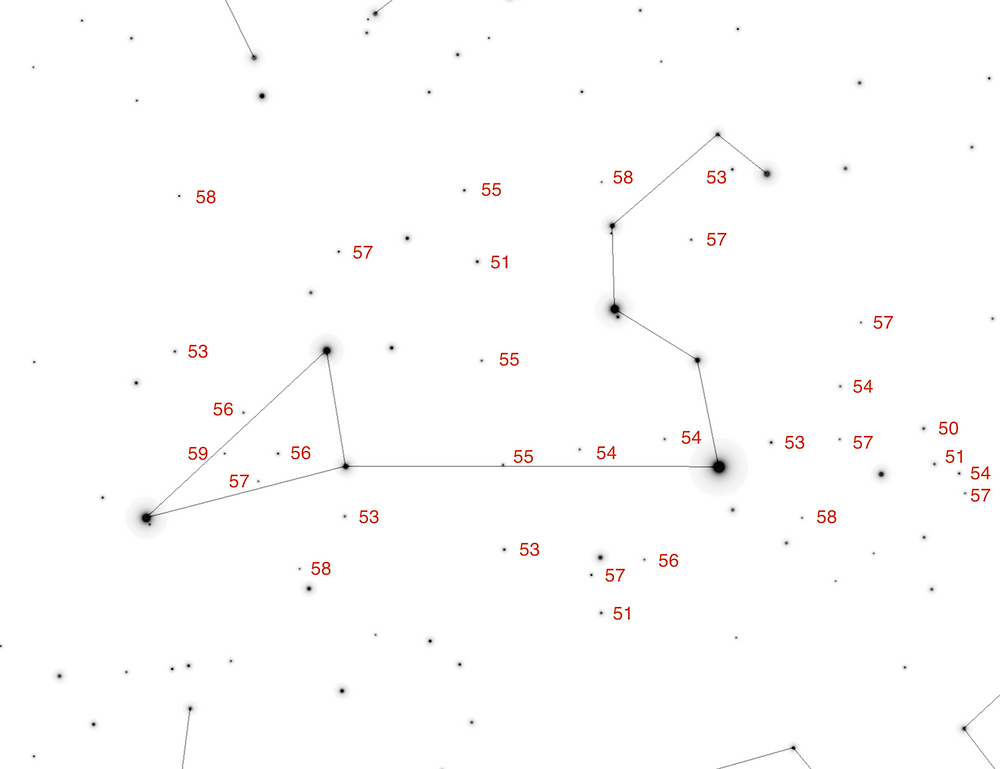 Star chart of Leo labeled with magnitudes < 6 (decimal point hidden).