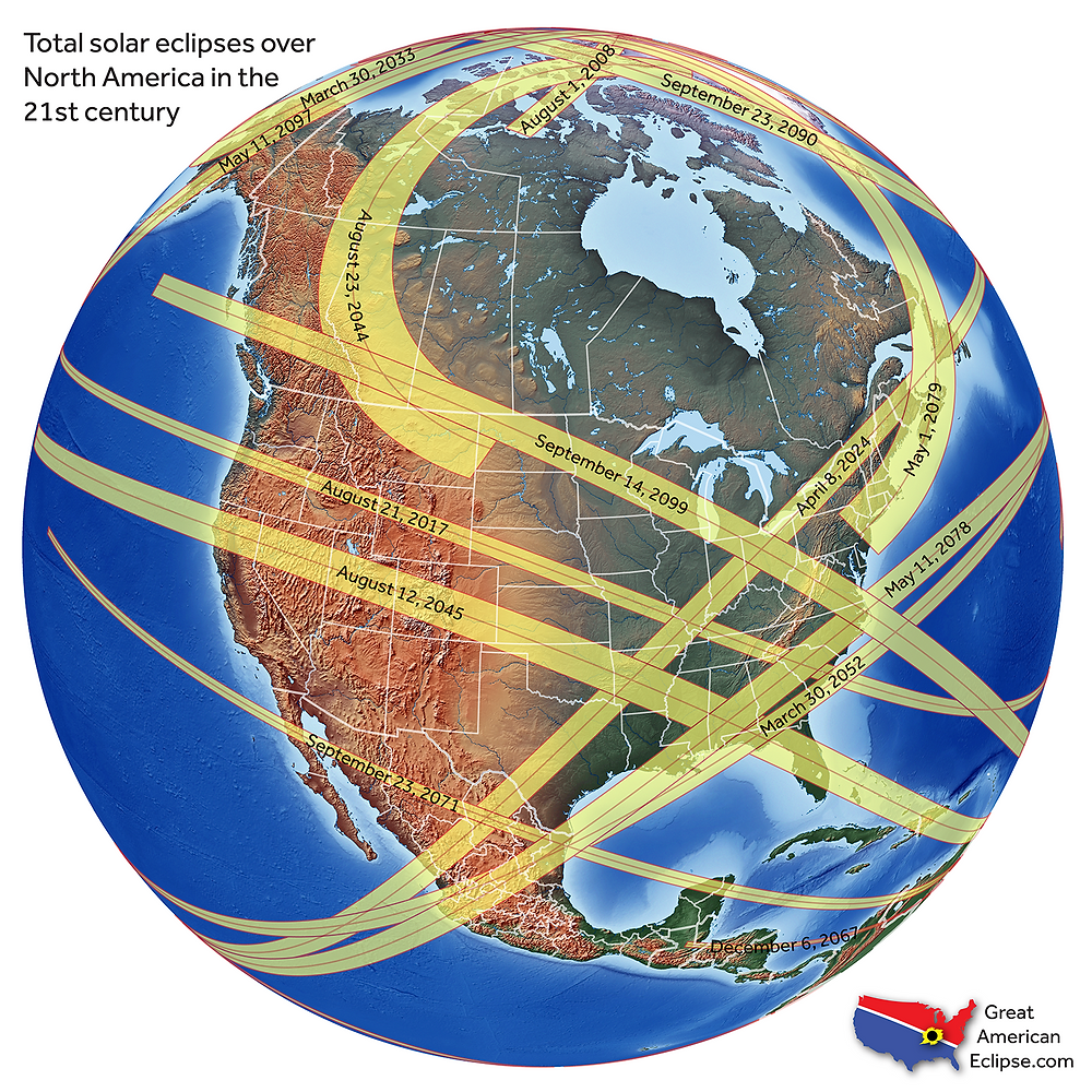 Map of future eclipses, courtesy of Michael Zeiler, www.GreatAmericanEclipse.com