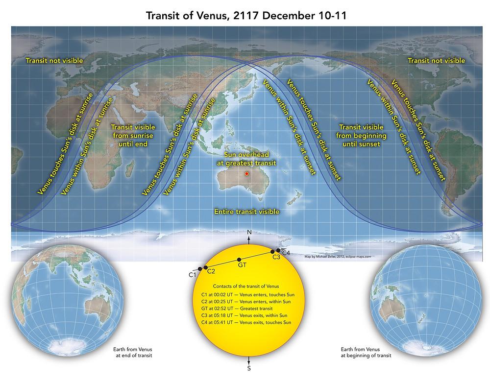 Map of 2117 transit of Venus; courtesy of Michael Zeiler, eclipse-maps.com.
