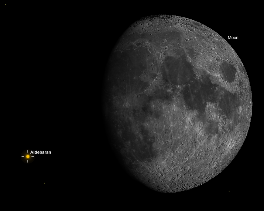 Aldebaran near dark limb of gibbous moon.  (Simulation by SkySafariPlus software.)