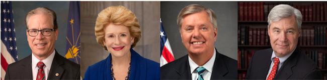 Senators Mike Braun (R-IN), Debbie Stabenow (D-MI), Lindsey Graham (R-SC), and Sheldon Whitehouse (D-RI)
