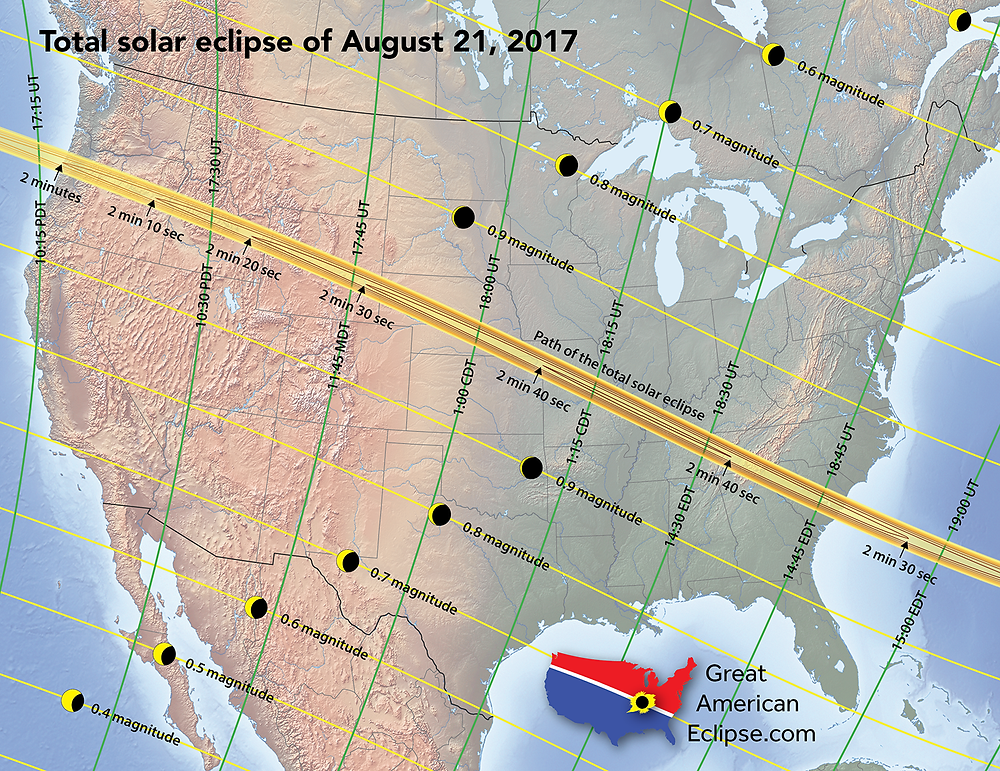 Solar eclipse map courtesy of Michael Zeiler, www.GreatAmericanEclipse.com