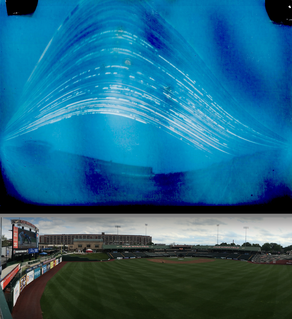 A solargraph captures the arcing path of the sun through the 2016 World Series, as seen from the ballpark of the South Bend Cubs.