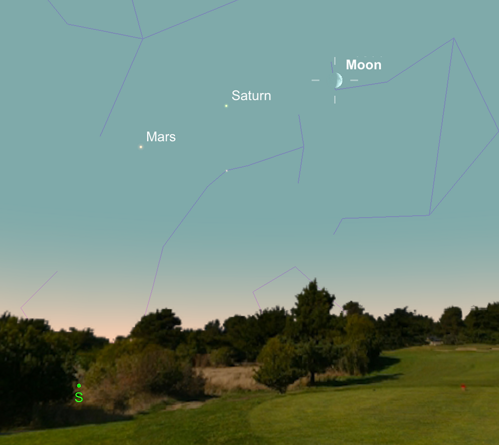 Mars, Saturn, and moon in a row; 7 September 2016