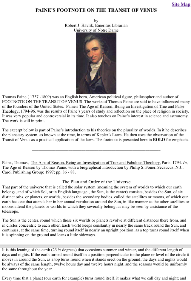 Thomas Paine and the Transit of Venus