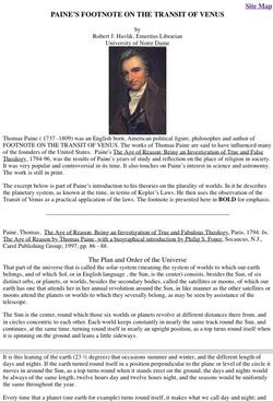 Thomas Paine and the Transit of Venus