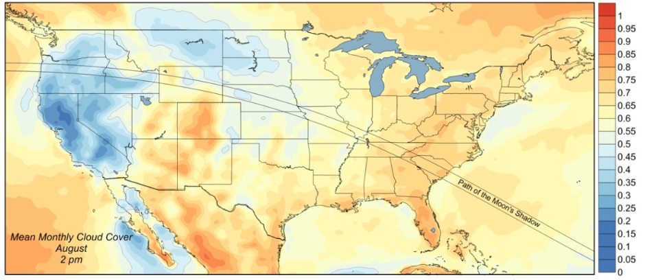 Map of totality with mean August cloud cover courtesy of Jay Anderson, http://eclipsophile.com.
