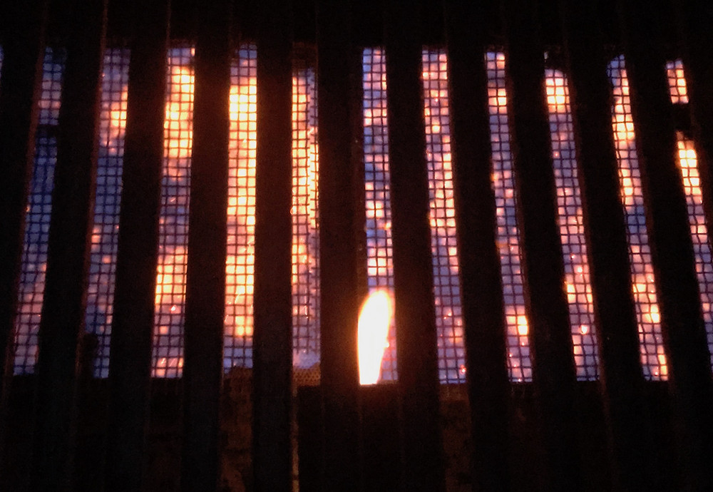 Flames of a gas grill