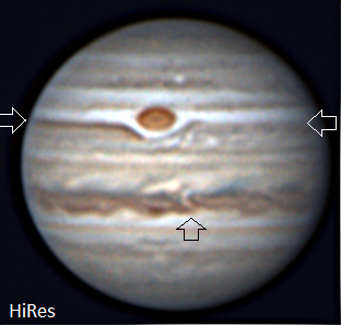Jupiter, imaged and labeled by Lee Keith.