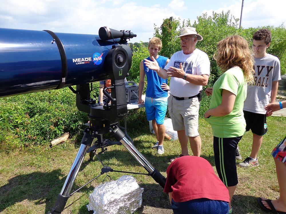 Jim Hopkins at telescope