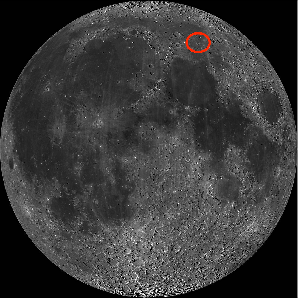 Red circle shows location of Lacus Mortis, a.k.a. Lake of Death, on north side of moon above Sea of Tranquility.  Image: NASA LRCO
