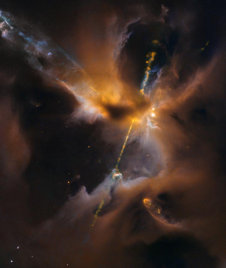 Hubble Sees the Force Awakening in a Newborn Star, from HubbleSite.  Image credit: Herbig-Haro 24 NASA and ESA Acknowledgment: NASA, ESA, the Hubble Heritage (STScI/AURA)/Hubble-Europe (ESA) Collaboration, D. Padgett (GSFC), T. Megeath (University of Toledo), and B. Reipurth (University of Hawaii) http://goo.gl/jWknAw