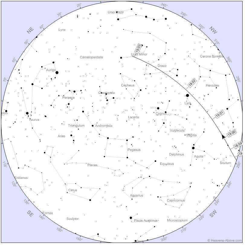 Star chart for ISS pass for Dec. 7, 2015. Image courtesy of Chris Peat.