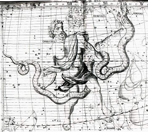 """Ophiuchus and Serpens, from """"Atlas Coelestis"""" by Johan Cammayo.  Image credit: Jacopo Montano and Wikimedia Commons"""