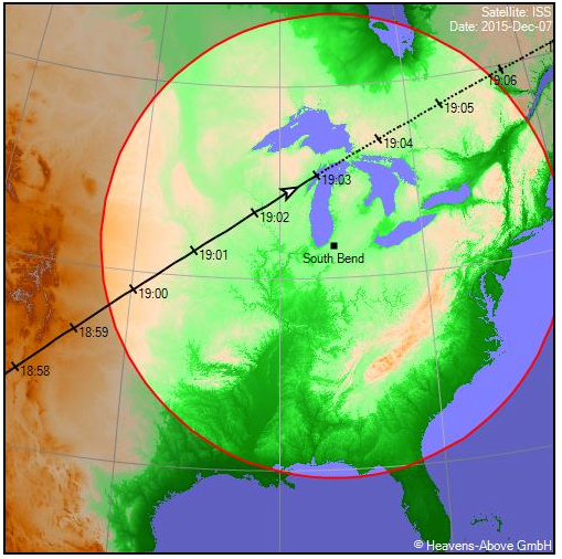 ISS ground track for Dec. 7, 2015. Image courtesy of Chris Peat.