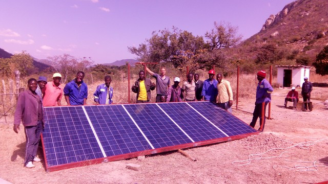 Image of solar panel installation in Zimbabwe; image courtesy of Mike Dits