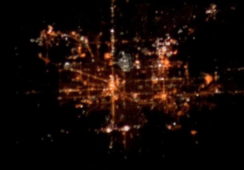 Cities of South Bend and Mishawaka, IN, as seen at night from International Space Station