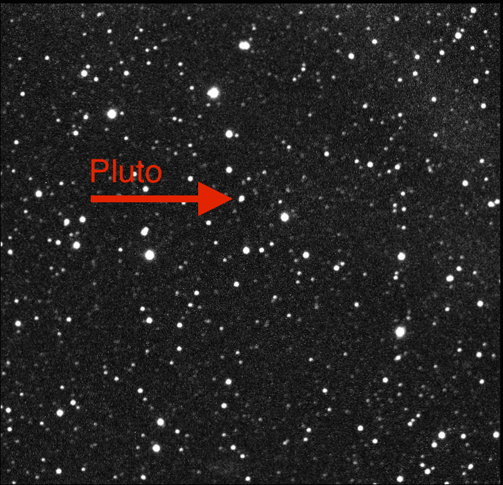 Pluto labeled with arrow