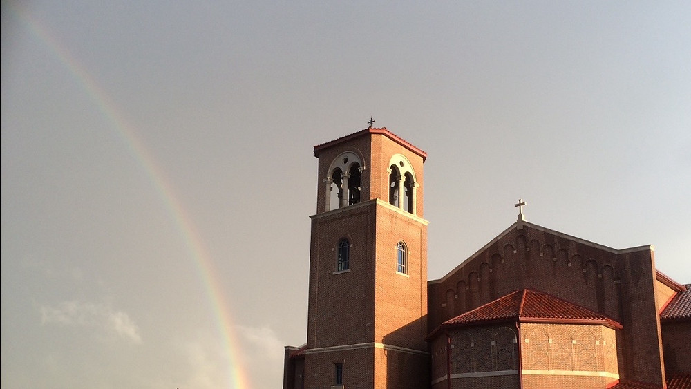 Rainbow and St. Pius X bell tower.